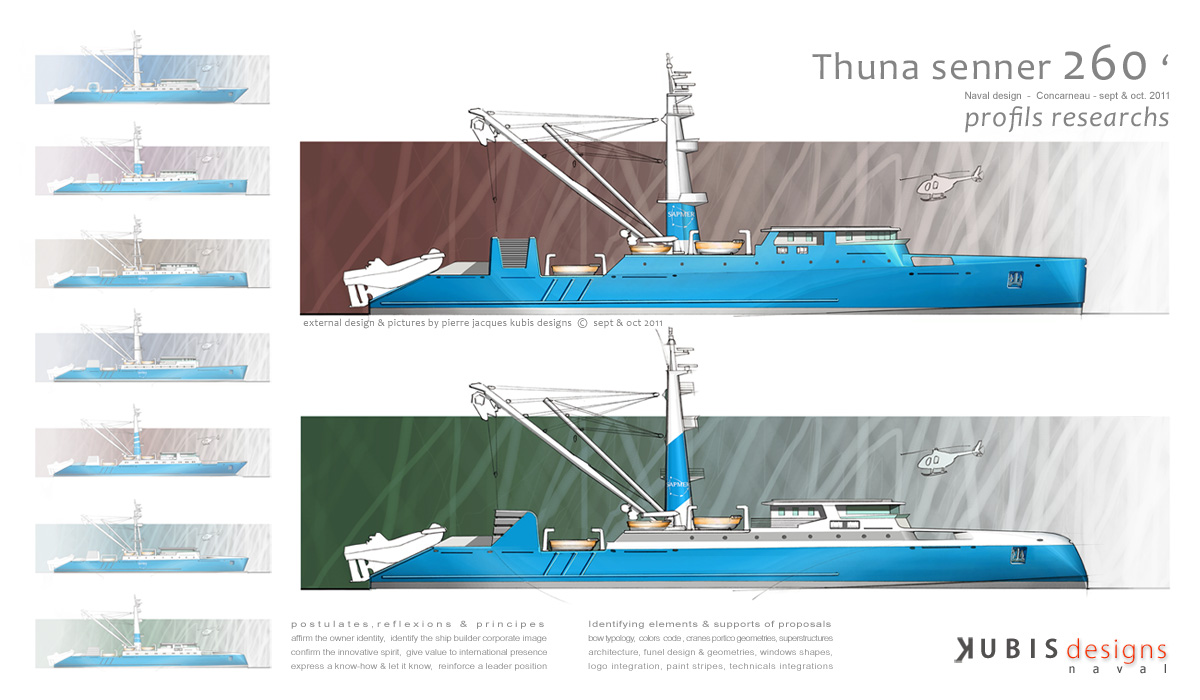 Design of 80 m Purse Thuna Senners external identity for Piriou (...)