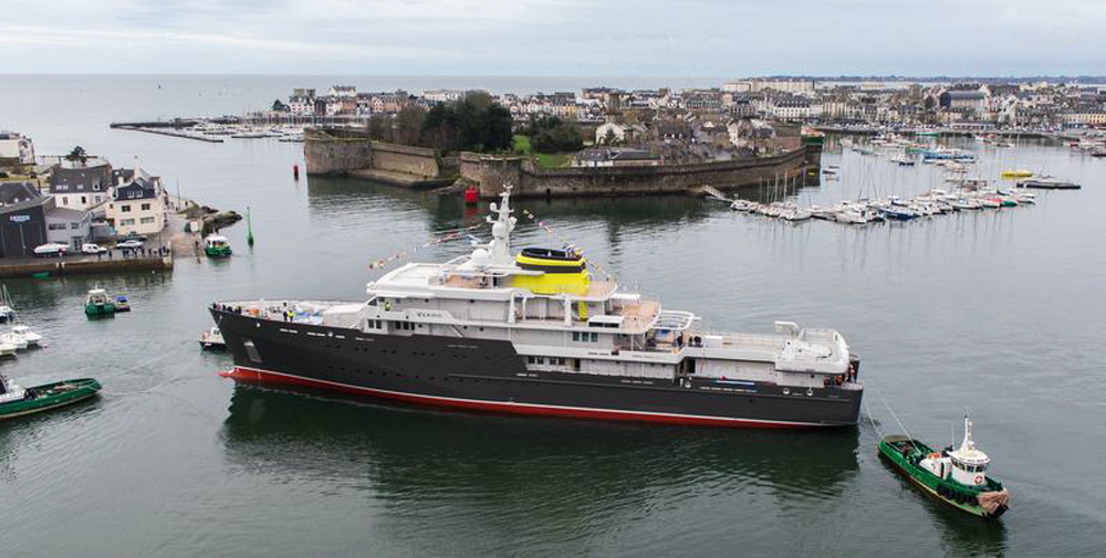 Launch of the 76.6 m Explorer m/v YERSIN in Concarneau harbor